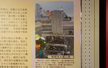 ↑展示パネル 塚田喜太郎の墓。