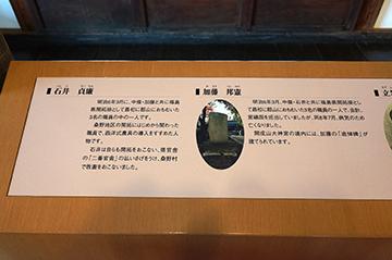 ↑展示パネル 安積開拓ゆかりの人びと 石井貞廉(いしいていれん) 加藤邦憲(かとうくにのり)。