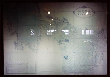 ↑展示パネル 猪苗代湖 疏水実測全図。