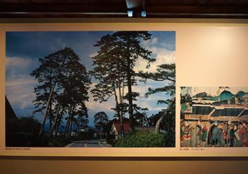 ↑展示パネル 旧街道に残る杉並木(日和田町) 郡山宿錦絵 文久元年(1861)。