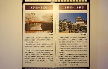 ↑展示パネル 米沢藩〜米沢市 二本松藩〜本松市。